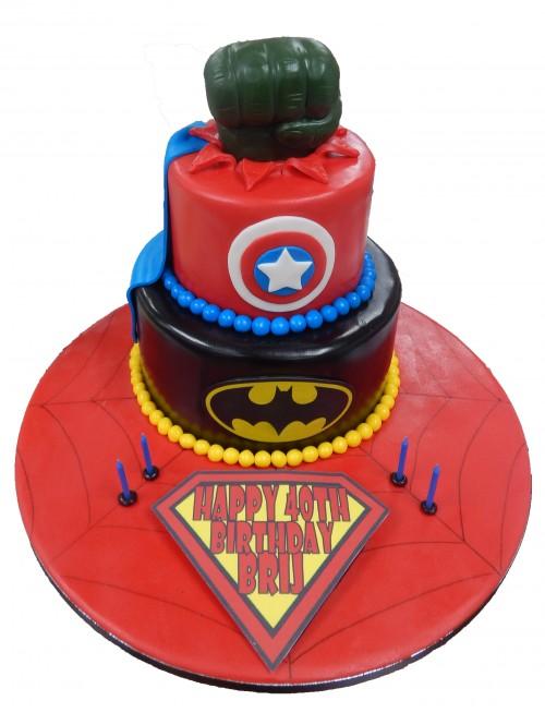Avengers Tiered Cake, Superhero, Male, Boys, Marvel, Celebration, Birthday