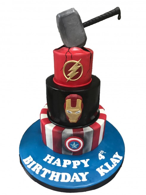 Incredible Avengers Tiered Cake With Thor Hammer Personalised Birthday Cards Veneteletsinfo