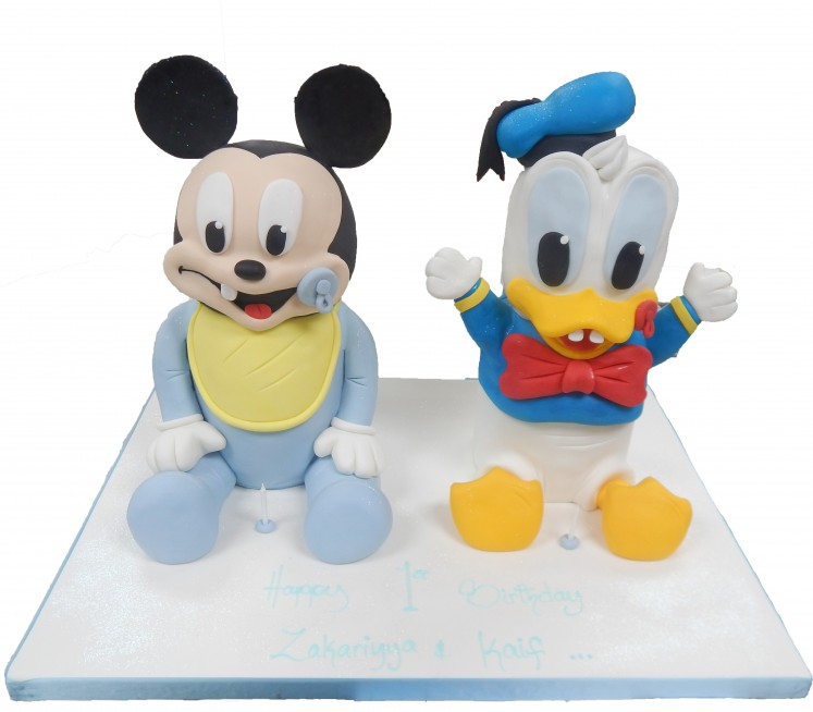 Prime Baby Mickey Donald Duck Birthday Cake Personalised Birthday Cards Veneteletsinfo