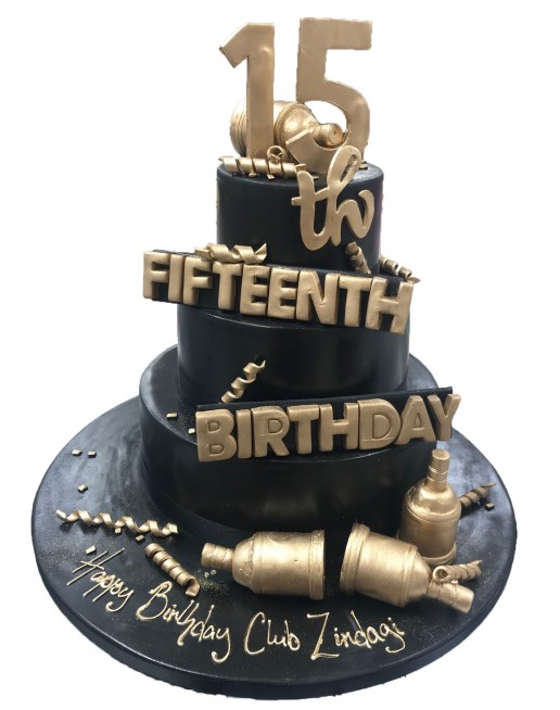 Sensational Black Gold Party Tiered Cake Funny Birthday Cards Online Fluifree Goldxyz