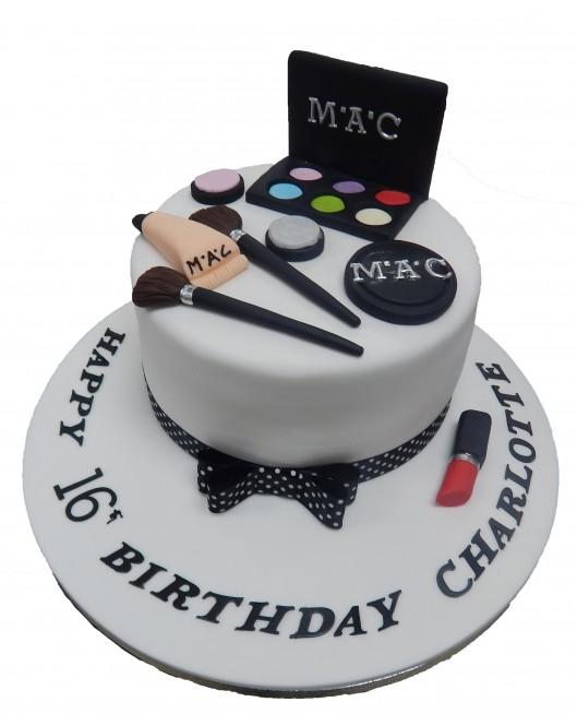Cool Black White Mac Makeup Cake Personalised Birthday Cards Sponlily Jamesorg