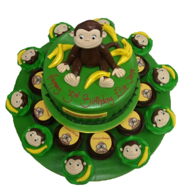 Magnificent Curious George Cake Cupcakes Personalised Birthday Cards Paralily Jamesorg