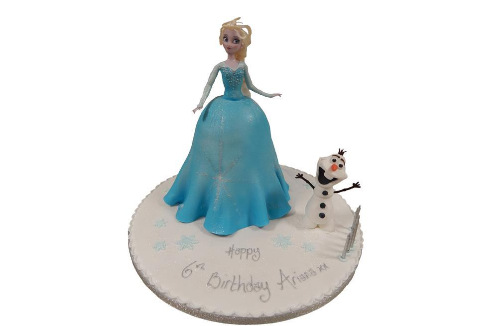 Frozen Tiered Cake with Trolls and Snowman