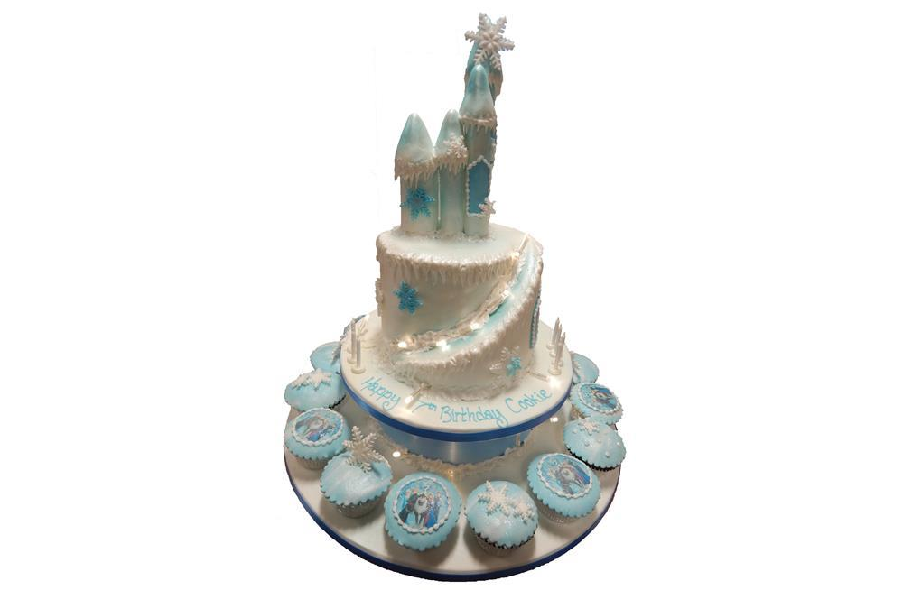 Astounding Frozen Castle And Cupcakes Funny Birthday Cards Online Overcheapnameinfo