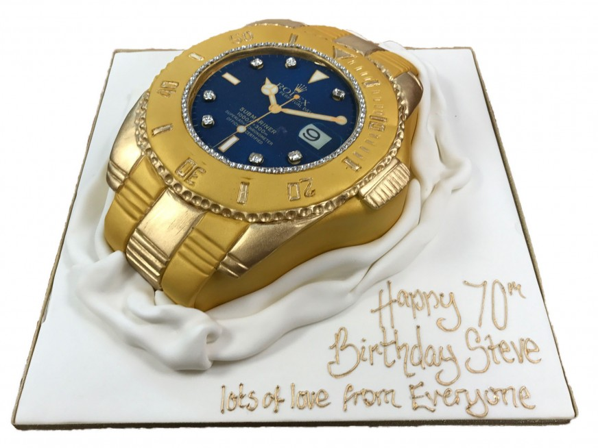 Cool Designer Watch Birthday Cake Personalised Birthday Cards Arneslily Jamesorg