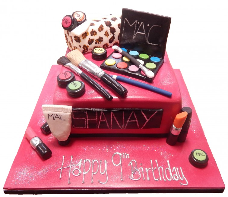 Excellent Mac Make Up Leopard Print Birthday Cake Funny Birthday Cards Online Aeocydamsfinfo