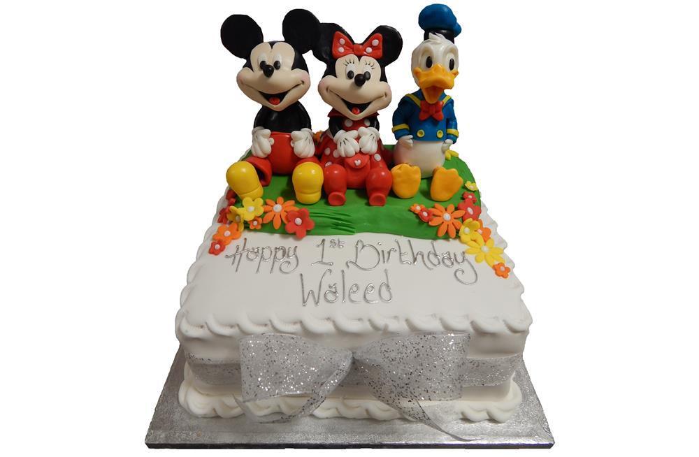 Outstanding Mickey Minnie Donald Birthday Cake Personalised Birthday Cards Epsylily Jamesorg