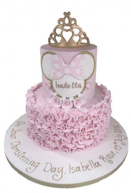 Awe Inspiring Minnie Mouse Tiered Crown Cake Funny Birthday Cards Online Kookostrdamsfinfo