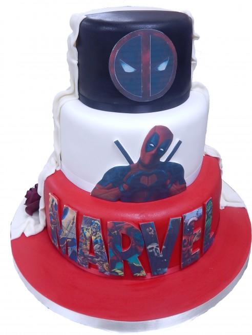 Mr Mrs Marvel Themed Wedding Cake