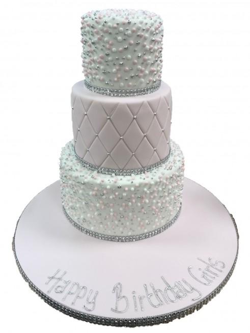Swell Pink Silver Tiered Cake Funny Birthday Cards Online Amentibdeldamsfinfo