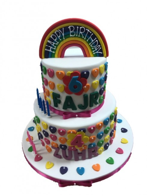 Pleasant Tiered Cake Rainbow Unisex Colorful Birthday Funny Birthday Cards Online Elaedamsfinfo