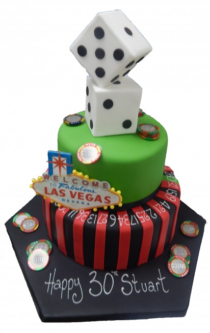 Roulette Vegas Tiered Cake Birthday Celebration Male