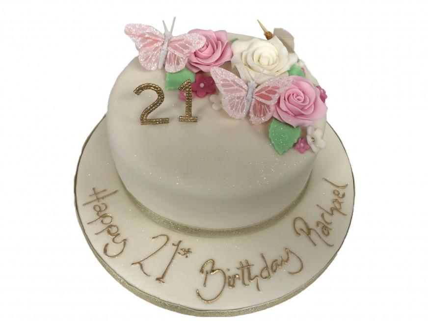 Brilliant Sugar Flowers Silk Butterflies Cake Personalised Birthday Cards Petedlily Jamesorg