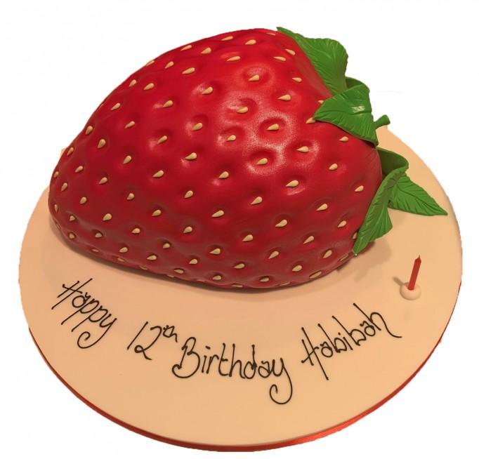 Remarkable Strawberry Shaped Birthday Cake Funny Birthday Cards Online Necthendildamsfinfo