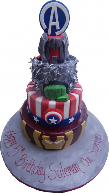 Tiered Avengers Cake