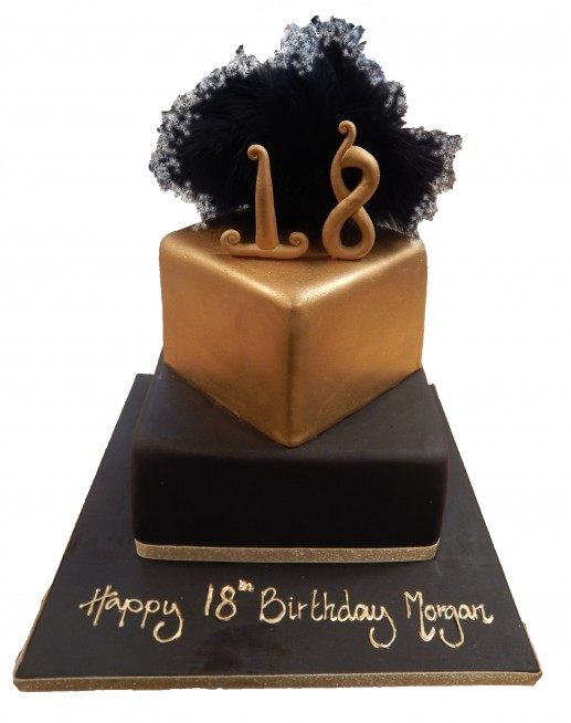 Tiered Black Gold Cake With Feathers Number