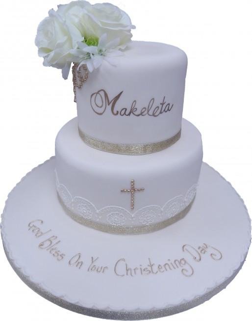 Tiered Lace Christening Cake