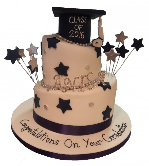 Topsy Turvey Graduation Cake With Hat Stars