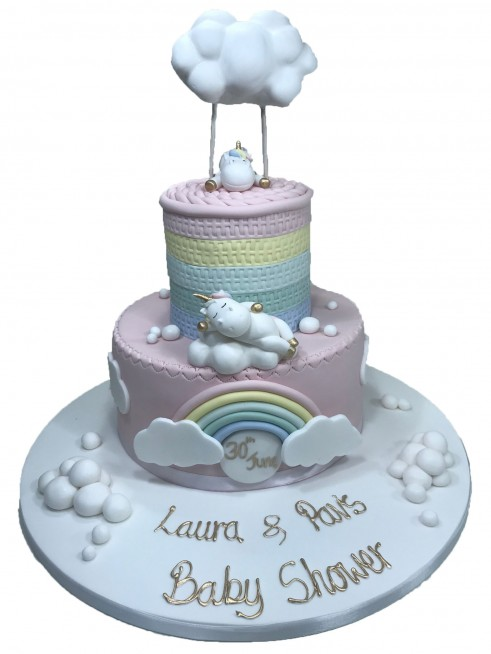 Unicorn Rainbow Clouds Tiered Cake