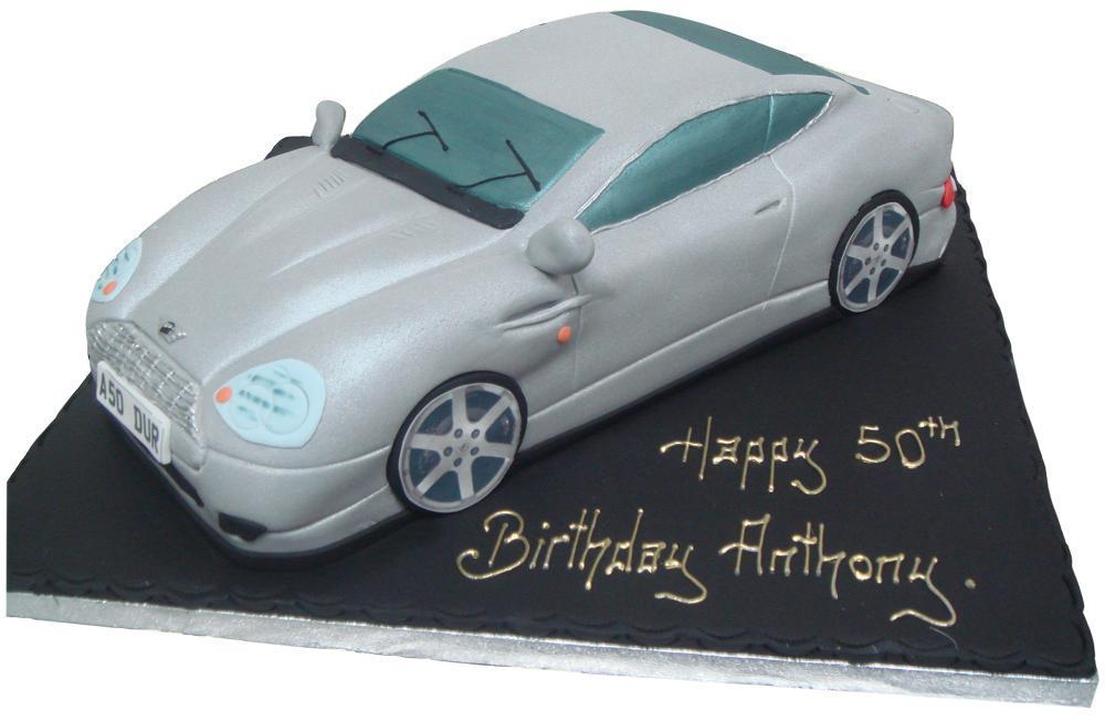 Aston Martin With James Bond Birthday Cake