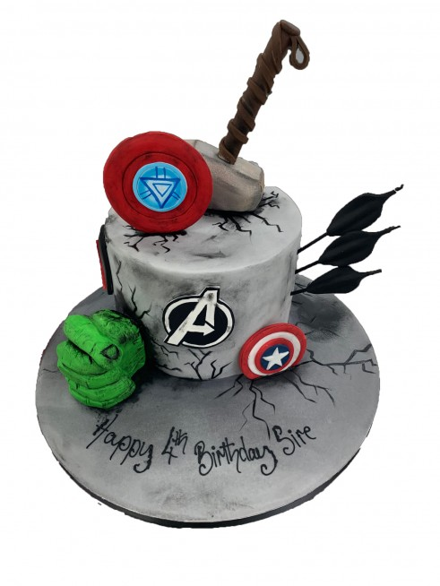 Groovy Avengers Rock Cake Personalised Birthday Cards Akebfashionlily Jamesorg