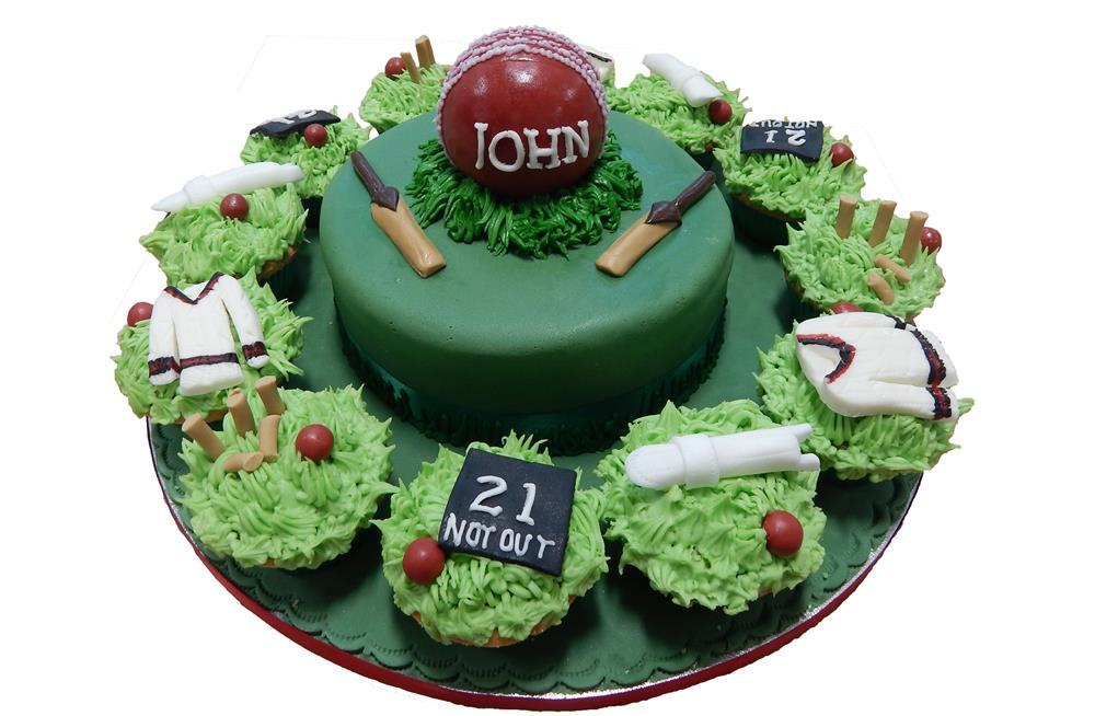 Cake Decorating Cricket Figures : Cricket Themed Cake & Cupcakes