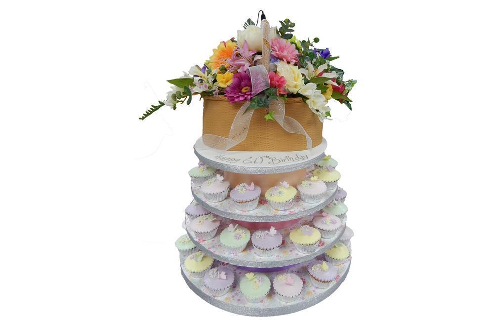 How To Make Flower Basket Cupcakes : Flower basket cake cupcakes