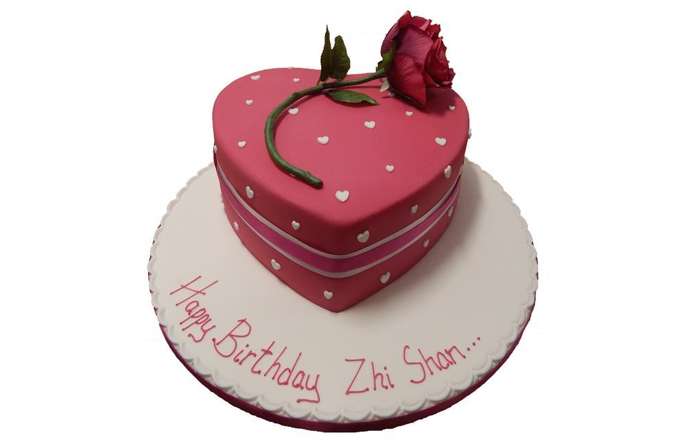 Heart Shaped Cake With Name Image : Heart Shaped Cake with Rose