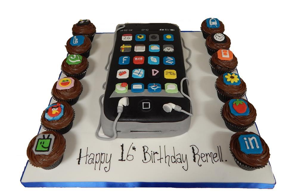 Awe Inspiring Iphone Cake With Cupcakes Funny Birthday Cards Online Aeocydamsfinfo