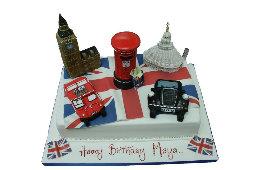 London Black Cab And Figures Cake