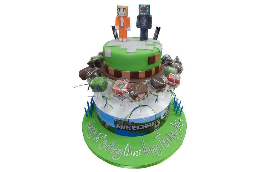 Minecraft Cake Cakepops