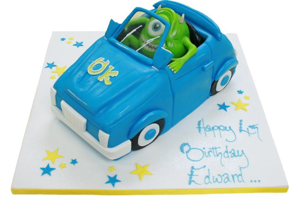 Strange Monsters Inc Car Birthday Cake Personalised Birthday Cards Veneteletsinfo