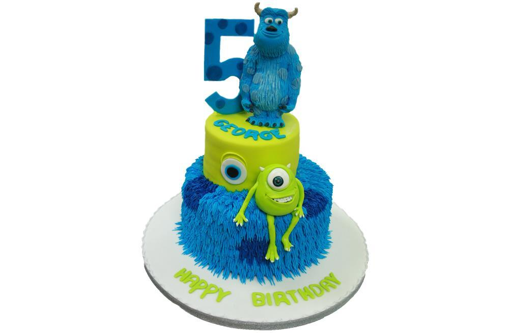 Brilliant Monsters Inc Tiered Birthday Cake Personalised Birthday Cards Veneteletsinfo