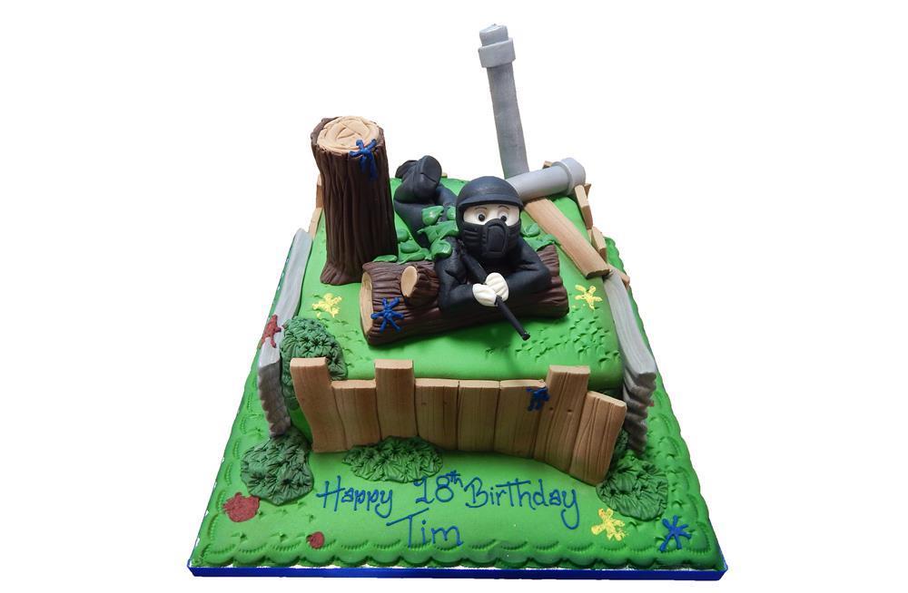 Surprising Paintball Birthday Cake Birthday Cards Printable Giouspongecafe Filternl