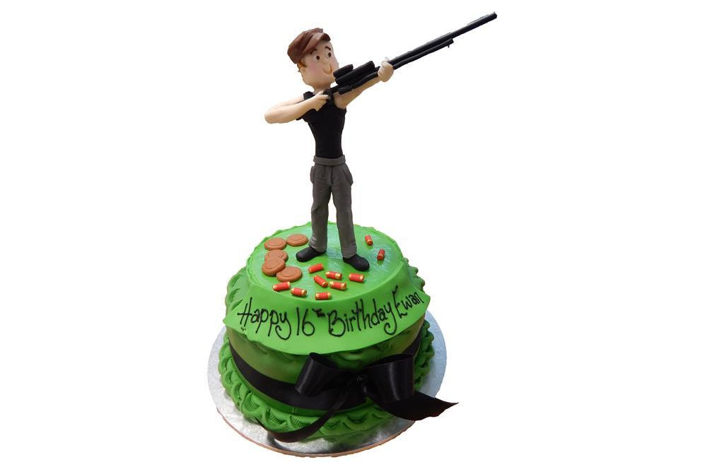 Miraculous Shooting Cake With Figure Funny Birthday Cards Online Necthendildamsfinfo