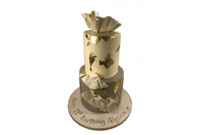 2 Tier Gold Leaf & Chocolate