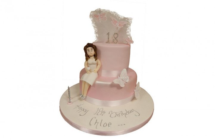 2 Tiered Figure, Butterflies & Feathers Cake