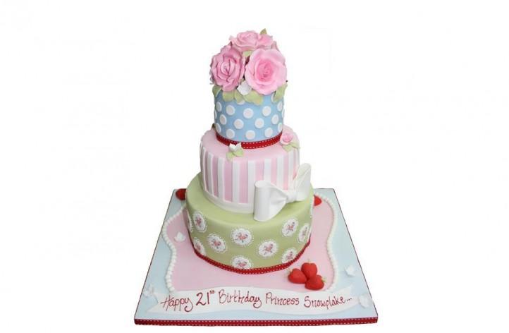 3 Tiered Rose Cake