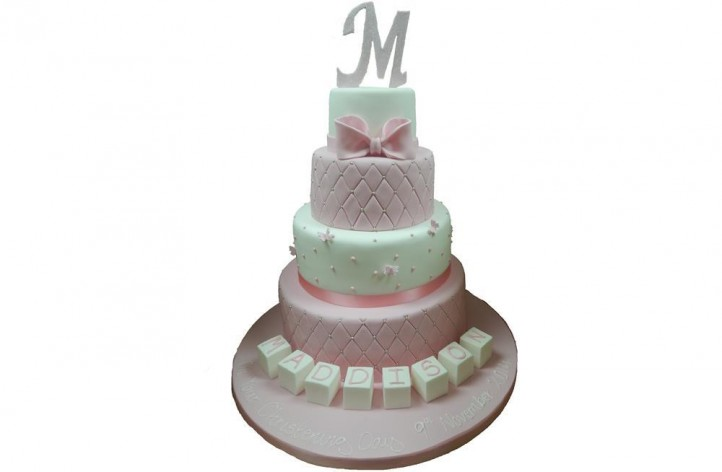 4 Tiered Quilted Christening Cake