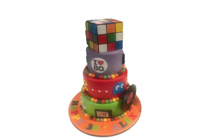 80's Theme Tiered Cake
