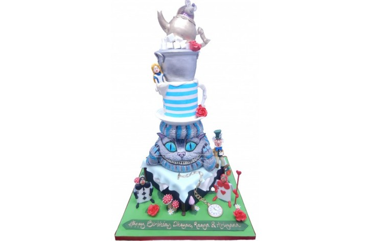 Alice In Wonderland Large Tiered Cake
