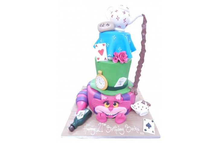 Alice in Wonderland Teapot Tiered Cake