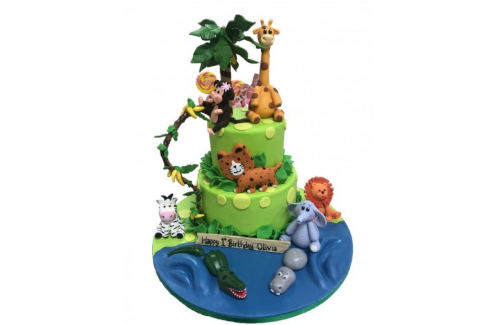 Animal Jungle Theme Tiered Cake