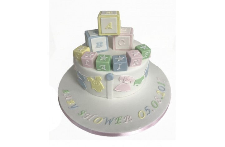 Baby Shower Blocks Cake