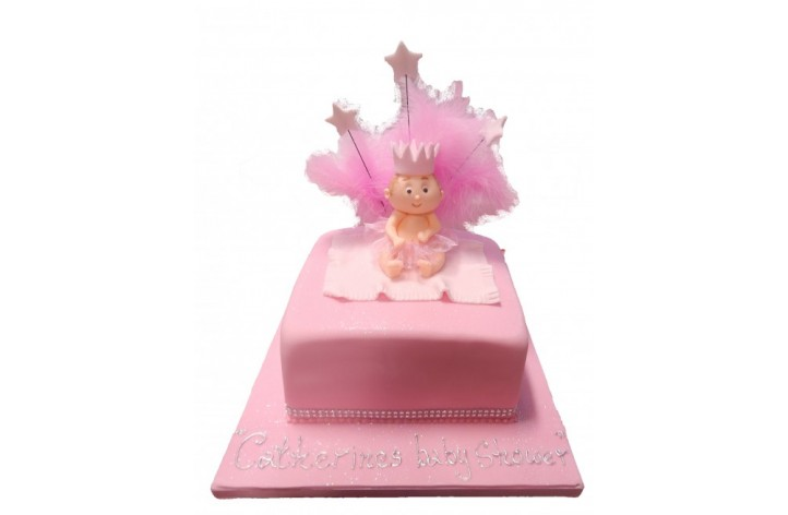 Baby Shower Cake with Feathers and Stars