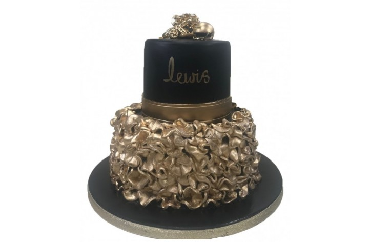 Black & Gold Ruffle Cake