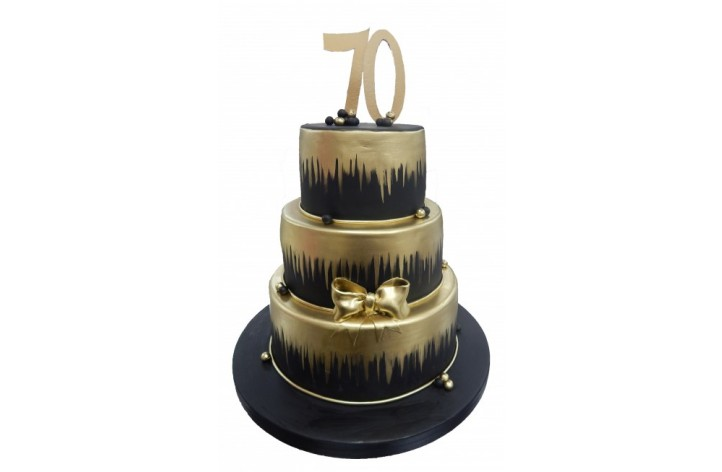 Black & Gold Tiered Number Cake