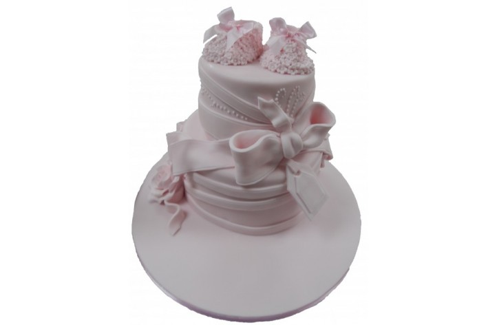 Booties and Bow Tiered Cake