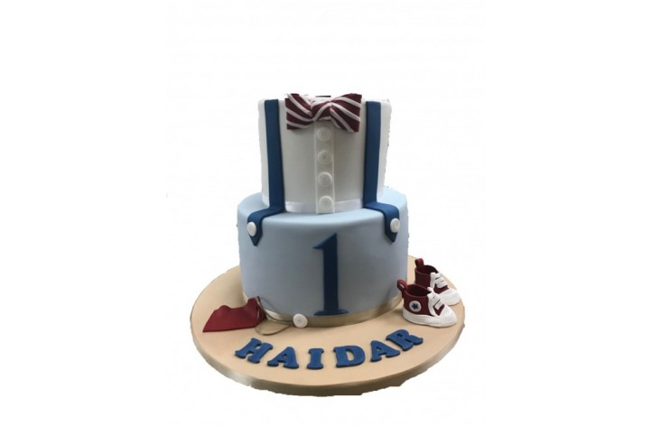 Boys bow tie and braces tiered cake