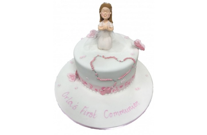 Holy Communion Cake With Figure & Beads